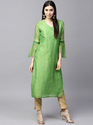 GREEN SOLID STRAIGHT KURTA WITH BELL SLEEVE