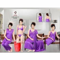 Ladies Satin Plain Night Dress Set, Size: M & L