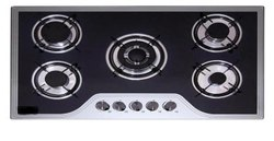 Black And White Fyaara 5 Br Italian Gas Hobs-Italia 5br, Size: 830x470mm