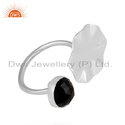 Sterling Fine Silver Wavy Disc Designer Black Onyx Gemstone Rings