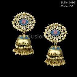 Meenakari Handmade Pearl Jhumka Earrings