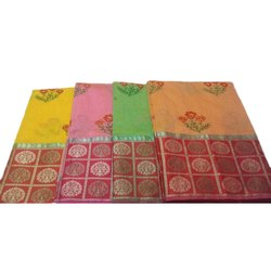 5.5 m (separate blouse piece) Casual Cotton Embroidered Saree