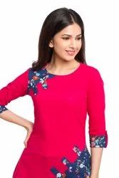 Yash Gallery Women's And Girls Cotton Slub Printed Top