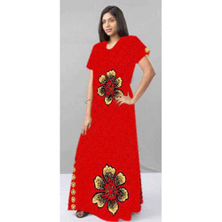 Small And XL Printed Elegant Ladies Cotton Gown