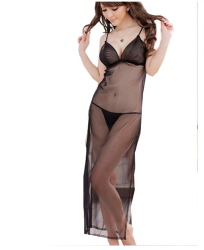 88446b87f92 Long Nightwear - Hot Transparent Robe Nighty With Bikini Set ...