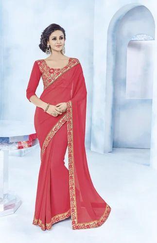 5fe8582d80 Pink Silk Georgette Plain Party Wear Saree, Rs 1335 /piece   ID ...