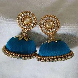 Karthik Creations Blue Ladies Fashionable Silk Thread Earrings