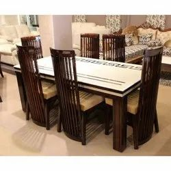 Manhattan 76 cm 6 Seater High Back Dining Table, Material: Wood