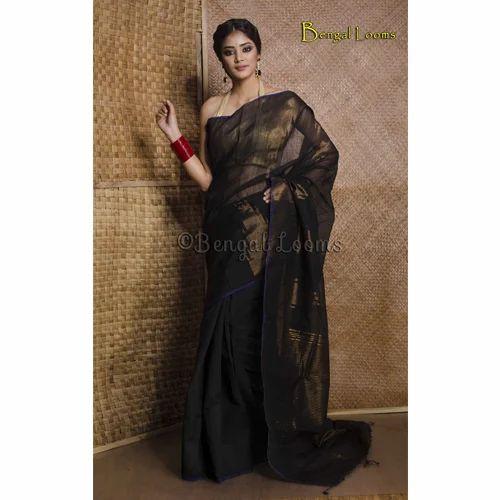 c9133620ee341 Handloom Khadi Cotton Silk Saree with Temple Border in Black and Gold