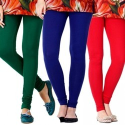 Green, Blue And Red Cotton Ladies Plain Legging