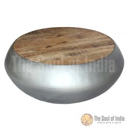 Metal Bowl In Round Shape With New Mango Wooden Top. Metal In Plain Metal Finish.