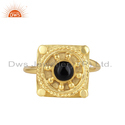 Natural Black Onyx Gemstone Handmade Designer Gold Plated Silver Rings