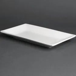 White Plastic Rectangular Serving Dishes, Packaging Type: Box, Size: 10x4 Inch