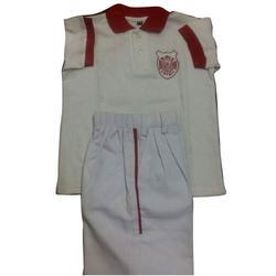 White And Red Plain School Uniform, For Schools