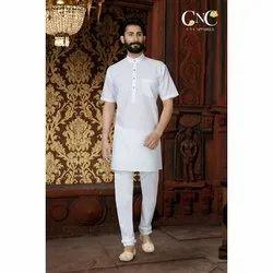 Cotton Plain Mens Tight Bottom Casual Pajama and Kurta, Size: 36-44