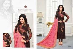 Dark Brown & Pink Georgette Embroidered Salwar Suit With Banarasi Dupatta
