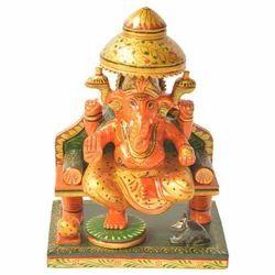 Wooden Painted Sitting Ganesha Statue