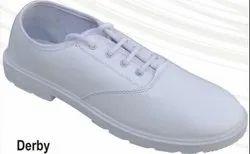 Poddar Derby White School Shoe