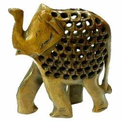 Wooden Undercut Elephant Black Finishing Work