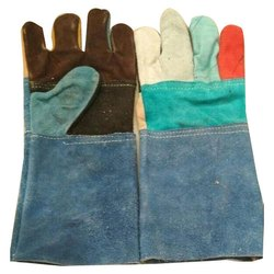 Plain Multicolor Safety Leather Gloves for Industrial, Size: Free Size