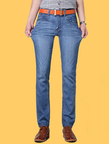 Plain Blue Stretchable Denim Jeans