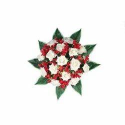 Cotton Red & Cream Fancy Artificial Flower Bouquet, For Decoration