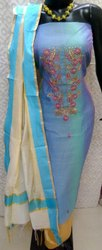 Ladies Chanderi Aari Work Dress Material