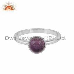 Amethyst Cab Gemstone Designer Sterling Silver Ring