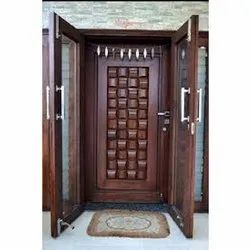 Polished Modern Teak Wood Main Door, Brown, Thickness: 2 Inch