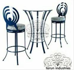 Tarun Industries Black Wrought Iron High Bar Chair Table Dining Set, For Restaurant
