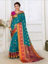 Cotton Silk Weaving  Saree With Blouse Piece