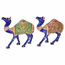 Metal Meena Camel Statue