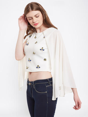 bb960de5495bc Cape Sleeve Round Neck Off White Color Embellished Party Crop Top ...