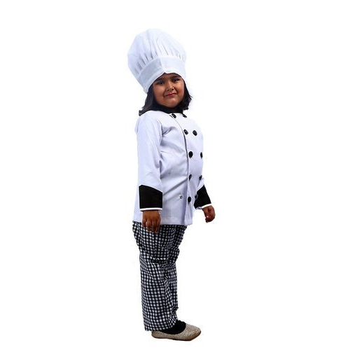 Girls And Boys White And Black Kids Chef Fancy Dress Size 3 12