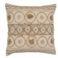 Geometric Pattern Embroidered Square Cushion Cover