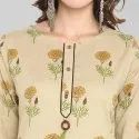 Beige Cotton Kurta With Pant