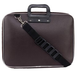 Faux Leather Unisex Laptop Briefcase Shoulder Strap