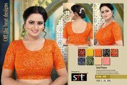 D.NO. 325 Orange Printed Blouse