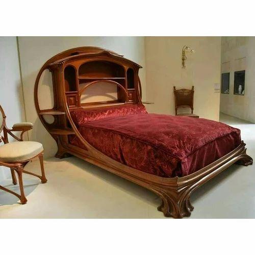 Brown Royal Wooden Designer Bed Rs 60000 Set Royal Carving