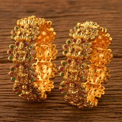 Brass Antique Temple Bangles with Matte Gold Plating 200576