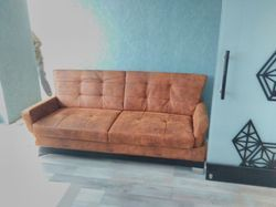 Brown Two Seater Leatherite Sofa