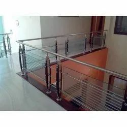 Stainless Steel, Glass Stairs Decorative Glass Railing, For Home