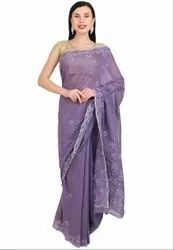 Lucknowi Chikan Work Orchid Saree