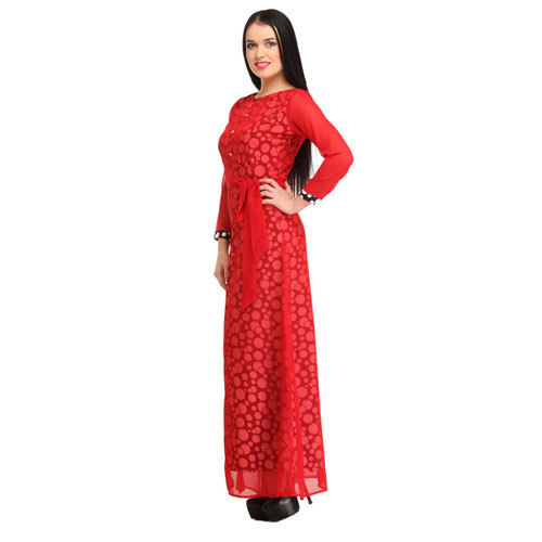 55406ba2fcc Cottinfab Women  s Viscose Rayon Red Printed Maxi Dress