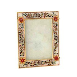 White Marble Golden Design Photos Frame