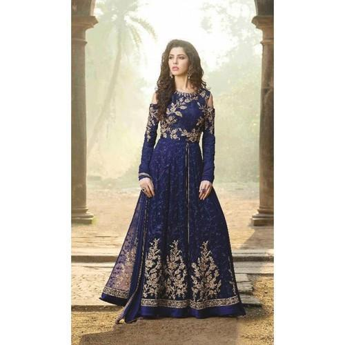 5b75beb3957 Party Wear Blue Net Embroidery Semi Stitched Anarkali Suit