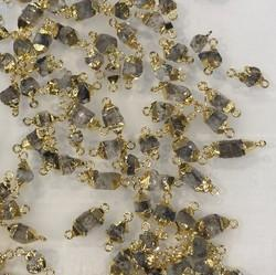 Herkimer Diamond Rough Bezel Connectors Gold Plated