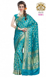 5bd0b711d1 Neerus Rama Green Color Banarasi Silk Saree - Neeru's Emporio ...