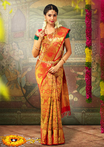 Golden Party Wear And Festive Elegant Bridal Silk Saree