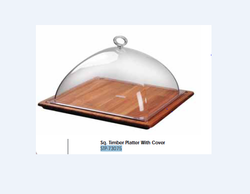 Sq. Timber Platter With Cover